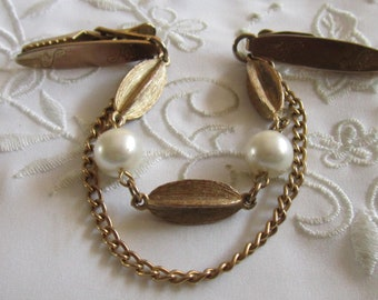 Vintage Gold Tone Sweater Guard with Double Rows of Chain, Faux Pearls and Metal Beads