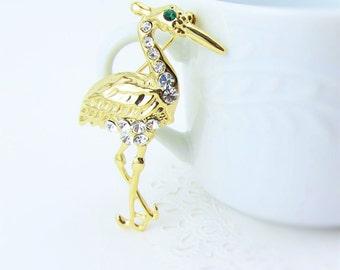 Gold Crane Bird Brooch / Pin