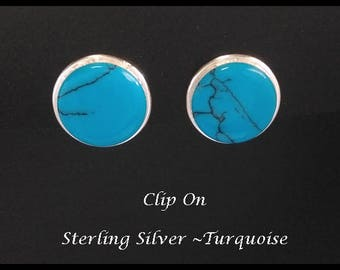 Clip On Earrings 353:  Sterling Silver Clip On Earrings with Turquoise Gemstone, Deep Blue | Silver Earrings, Gifts for Women, Mother, Mum