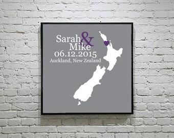 New Zealand Wedding Gift Custom Map Personalized Couple Art Personalized New Zealand Map Art Personalized