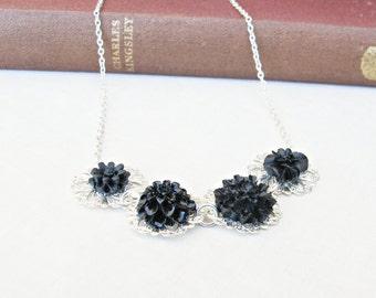 Botanical Necklace Black Flower - Jewelry Jewellery Floral Silver - Boho Bohemian For Women Chic - Monochrome Chain Dainty Her Handmade