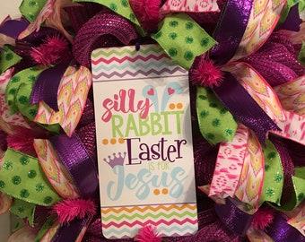 Silly Rabbit SIGN ON Deco mesch wreath