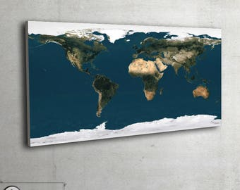 """Map of the World - Satellite Earth map - LARGE wall map - large art print up to 55"""" x 110"""" - 044"""