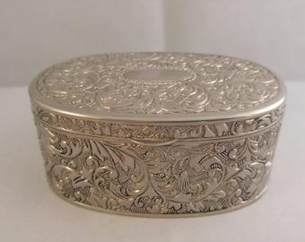 Trinket box embossed metal