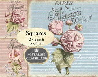 Paris Maison Flowers Shabby Chic Roses French Squares 2x2 inch squares Instant Download digital collage sheet TW102