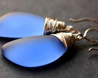 Sapphire Blue Seaglass Earrings. Sapphire Blue Earrings. Sapphire Blue Sea Glass Earrings. Wire Wrapped Wing Earrings. Handmade Jewelry.