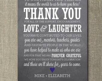 Chalkboard Wedding Thank You Board - Printable File