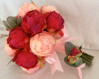 Peony Wedding Bouquet- Blush Pink and Fuchsia Peony Bud Bouquet -  Ready To Ship