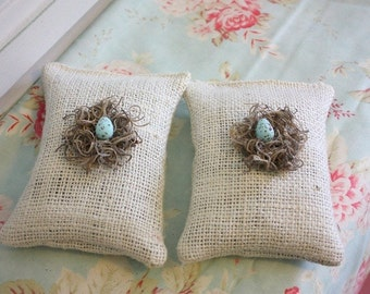 Burlap sachets with handmade bird nest,As Seen on HGTV