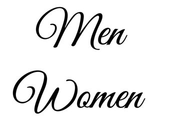 Men Women Restroom - Decal Sticker- Select Color & Size