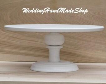 "Custom Cake Stand, 12"" Wedding, Bridal, white Birthday Wedding cake stand for a Large cake stand Shebby White cake stand Cupcake Display"