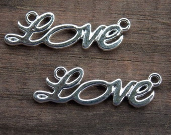 6 Silver PLated Love Connectors 33mm
