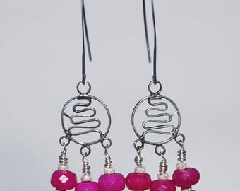fuchsia Jade and sterling earrings, magenta jade chandelier earrings, pink jade earrings, bali silver and jade earrings, hot pink earrings