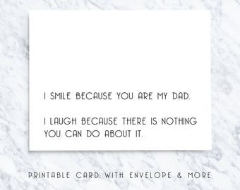 sarcastic dad card, teasing dad card, funny dad card, naughty dad card, fathers day card, sarcastic dad gift, printable dad