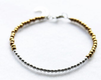 Delicate Silver and Antique Gold Beaded Bracelet