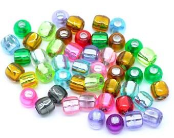 50g 250+pcs Acrylic Barrel Beads Foil Lined 7x7mm Hole 3mm (B145)