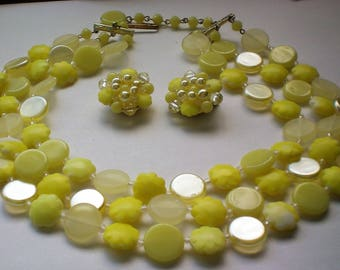 W Germany Lemon Yellow Mid-Century Triple Strand Plastic Necklace with Clip Earrings - 5699