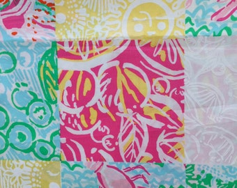 """multi state patch poplin cotton fabric square 18""""x18"""" ~ lilly pulitzer"""