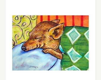 25% off chihuahua art - Chihuahua Sleeping in Bed Dog Art Print