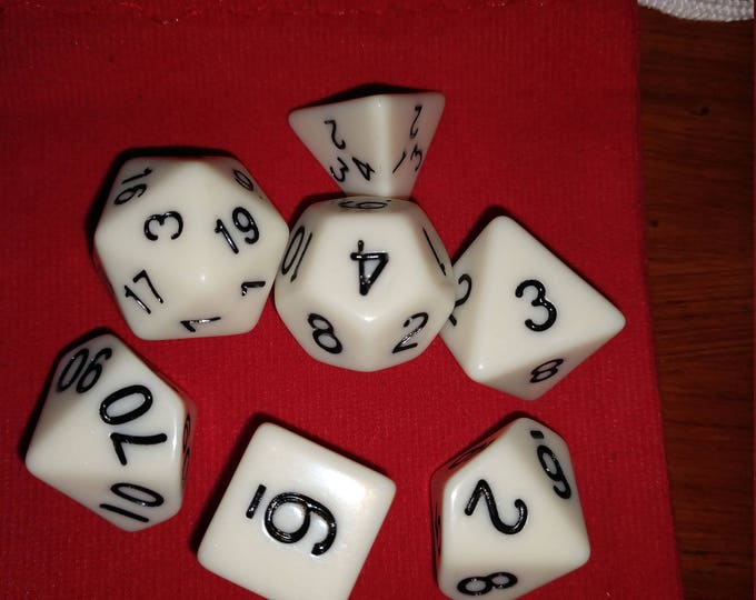 Ivory White - 7 Die Polyhedral Set with Pouch