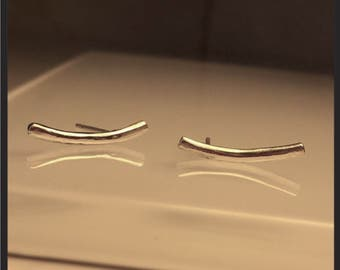 Handmade Bar Earring/Handcrafted Minimalist Sterling Silver Curved Bar Earrings./Ear crawlers../Free Shipping US.
