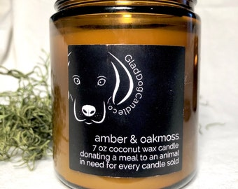 Natural Coconut Wax Candle with Wood Wick || Amber&Oakmoss