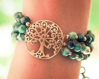 Tree of Life Bracelet // Turquoise Bracelet // Tree of Life Charm // Turquoise Marbles Bracelet // Sacred  Symbol Bracelet // Tree Bracelet