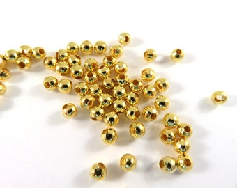 225 Gold Spacer Beads 4mm Round Plated Iron 1.6mm hole - 225 pc - M7058-G225