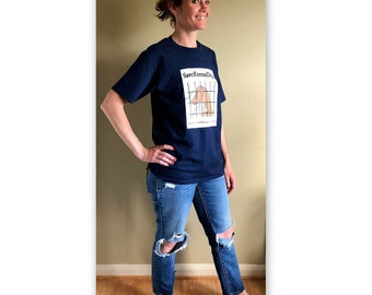 SaveKoreanDogs 100% cotton short sleeve t-shirt navy blue FREE ship to US only