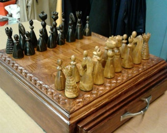 Handmade Wooden Chess Set and Board