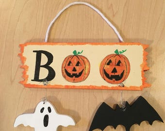 Halloween Boo Sign - Halloween Bat Sign - Halloween Ghost Sign - Halloween Sign