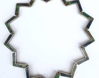 LOS CASTILLO Mosiaco Azteca Zig Zag Necklace Sterling and Azur Malachite
