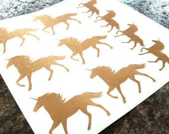 Small Glitter/Sparkly Unicorn Decals/Stickers for your wall, car, etc.  (set of 12) - Vinyl Decor - Glitter Unicorn. Rose Gold, pink, etc.