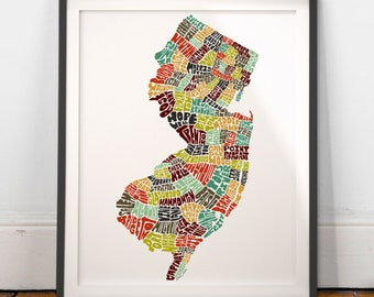 New Jersey typography map,New Jersey map art, New Jersey art print, New Jersey poster, New Jersey gift, hand drawn state typography series