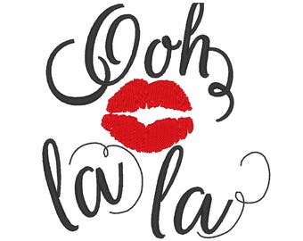 Ooh la la French style kiss designs sizes 4x4, 5x7 instant download French embroidery designs