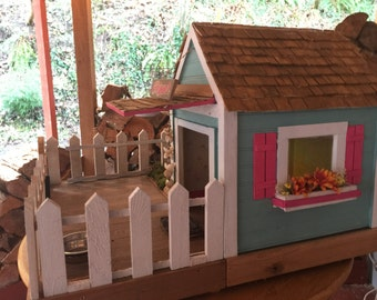 Small Beach Cottage Dog House Indoor Outdoor - Custom Built Small Dog House Reclaimed Materials