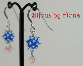 Super cute tiny spiky earrings! Blue and white with pink sterling silver, handmade, punk, spiky, alternative