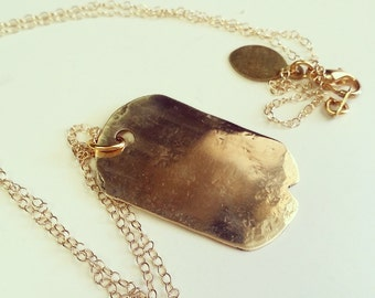 sweet dog tag hammered and polished gold filled necklace