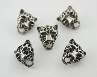 10 pcs. Zinc Silver Tiger Head Leopard Rivets Studs Decorations Findings 14 mm.DHRN1416