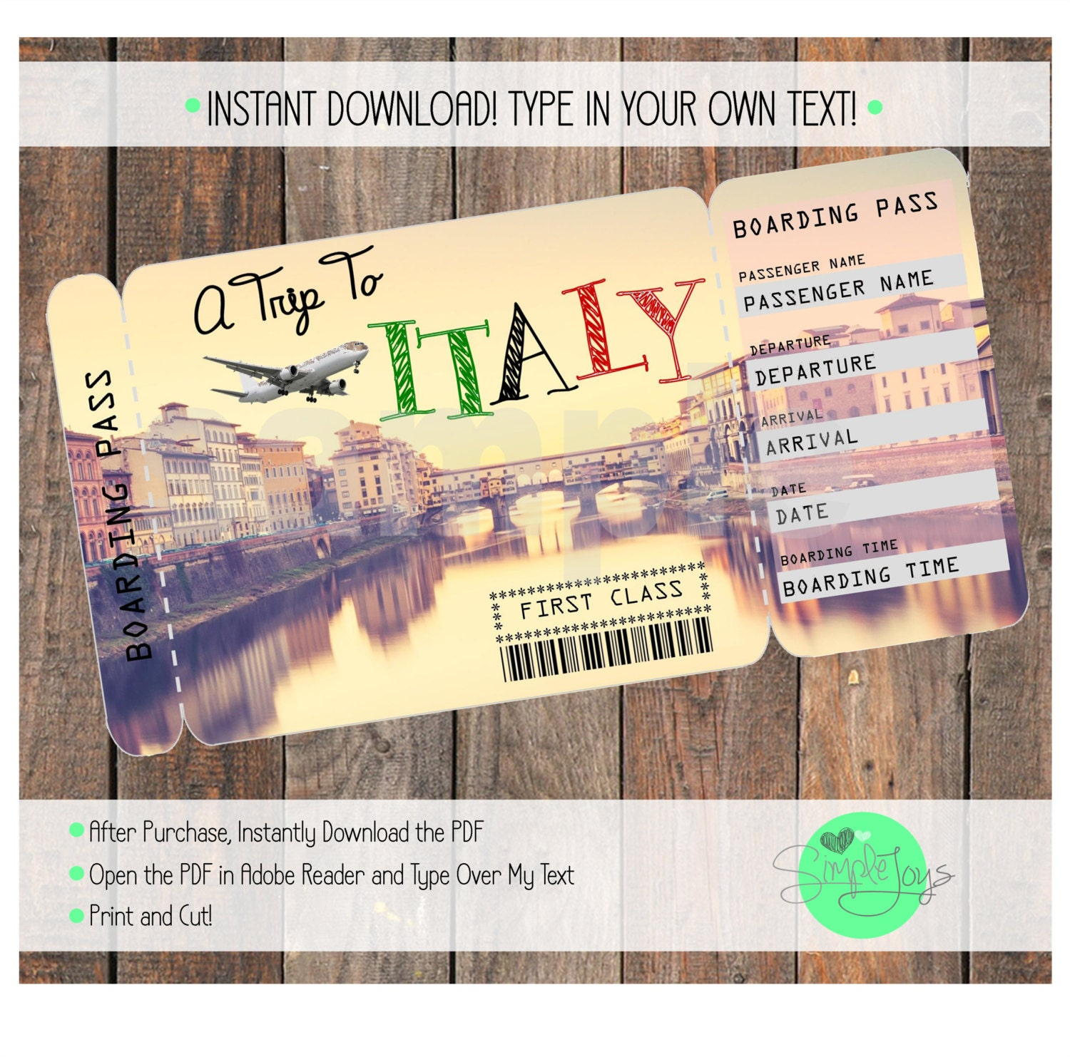 Printable Ticket To Italy Boarding Pass, Customizable Template, Digital  File   You Fill And  Printable Ticket Paper