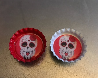owl magnets set of 2, day of the dead, sugar skulls. red, white.