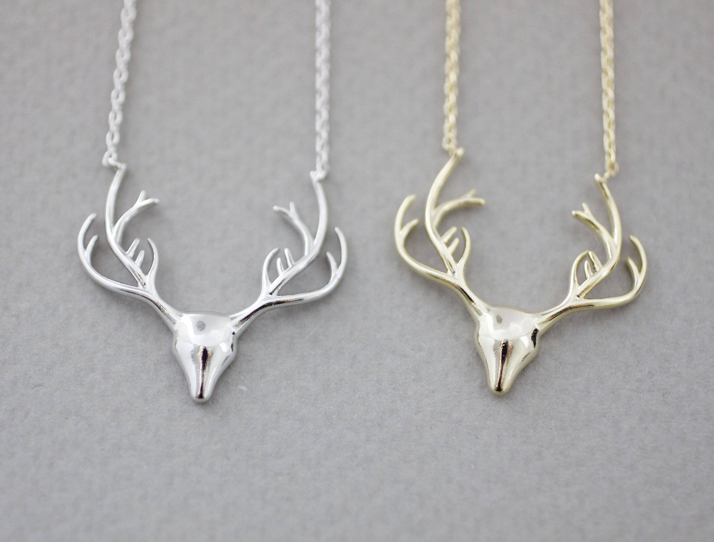 pin silver antler pendant deer jewelry from sterling carved rollo chain made gray wolf