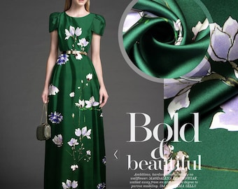 Green Stretch Silk Satin Fabric By The Yard Floral Printed Fabric Fashion Dress Fabric Clothing Fabric Gown Fabric Skirt Fabric -LINGLAN
