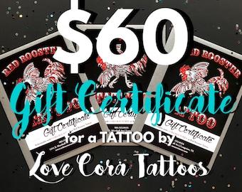 60 dollar certificat-cadeau tatouage par amour Cora tatouages
