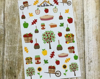 Apple Stickers / Deco Sheet / Apple Picking / Fall - Autumn Planner Stickers