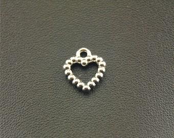 30pcs Antique Silver Heart Charms A1509