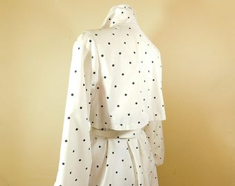 Vintage black and white polka dot trench coat, London Towne  raincoat size 10