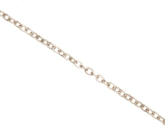 Cable Chain, Platinum Finished Brass 1.6mm jewelry making chain, Finding chain sold Per 5 Ft