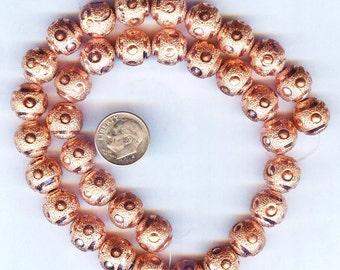 Laser Cut Copper Large Round Beads 12mm 4pcs