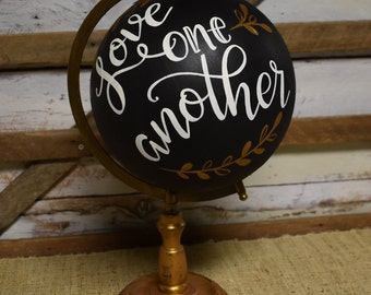 World Globe | Love one another | Home Decor | Hand Painted
